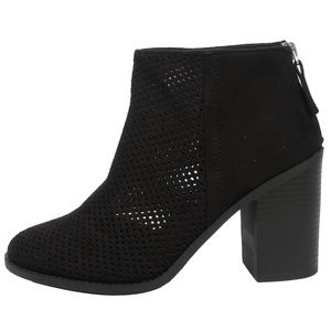 Shoes - Black Perforated faux suede Stacked Heel Ankle Boo
